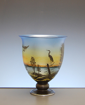 Open Vessel with Herons