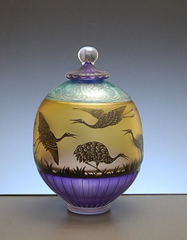 Covered Jar with Cranes
